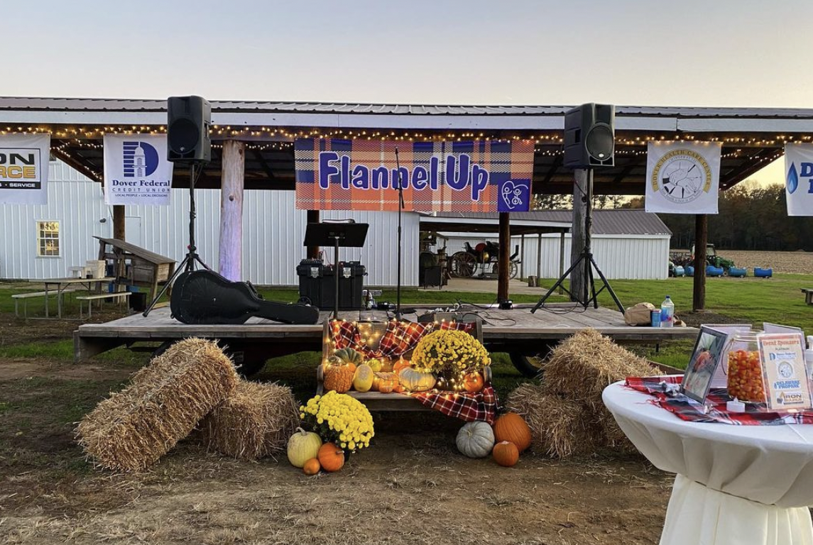 Flannel up event photo with fall decor